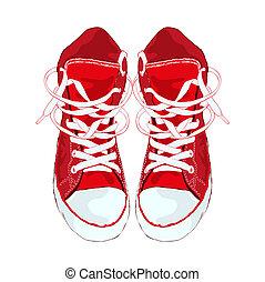 illustration., achtergrond., vector, gymschoen, wit rood