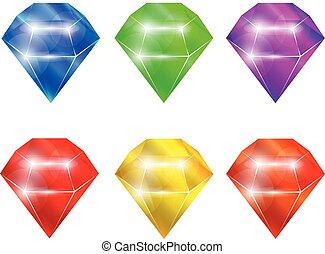 illustration, ??????adamants, vecteur, elements., isolé, ensemble, diamants, collection.