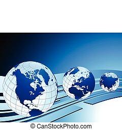 illustration affaires, cartes, idéal, vecteur, concepts, globes, original