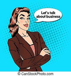 illustration affaires, confiant, vecteur, pop, femme, manager., woman., sourire, art.