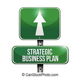 illustration affaires, stratégique, plan, signe, route