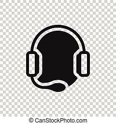 illustration affaires, vecteur, concept., style., blanc, bavarder, opérateur, plat, casque, arrière-plan., icône, isolé, helpdesk