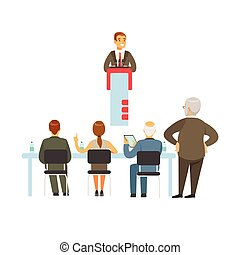 illustration affaires, vecteur, orateur, réunion, tribune, parler