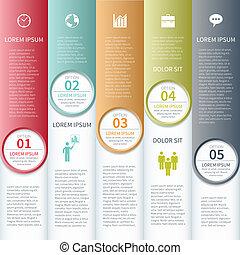 illustration., affari, banner., moderno, vettore, infographics, opzioni
