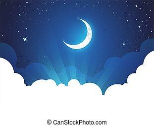 illustration, affiche, nuit, espace, copie, lune, vecteur, fond, -, étoiles