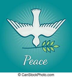 illustration., affisch, fred, vektor, filial, oliv, internationell, duva, dag
