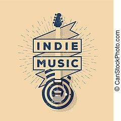 illustration., afisz, indie, rocznik wina, tytułowany, lotnik, wektor, muzyka, szablon, skała, design., odznaka, twój, chorągiew