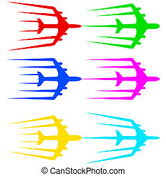 illustration., airliner, voando, stylized, vetorial, avião,...