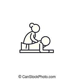 illustration., aláír, concept., jelkép, vektor, egyenes, ikon, masszázs, lineáris