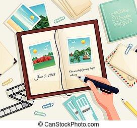 illustration, album, photo, vecteur