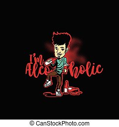 illustration., alcoólico, vetorial, logotipo, sujeito, mínimo