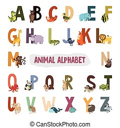 illustration., alfabet, animals., vector, engelse , afbeeldingen, kinderen