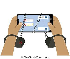 illustration., algemas, dependência, vetorial, segurar passa, networks., smartphone., social