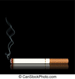 Illustration, alight smoking cigarette on black background