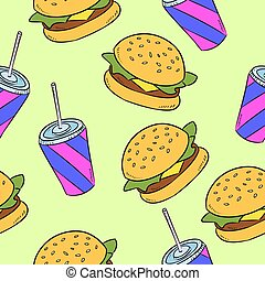 illustration., alimento, pattern., seamless, rapidamente, hand-drawn, vetorial, americano