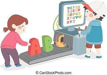 illustration, alphabet, machine, balayage, gosses