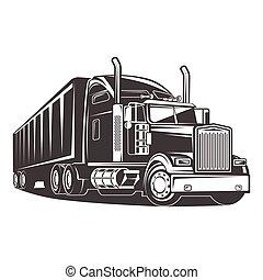 illustration, américain, camion, noir, blanc, caravane