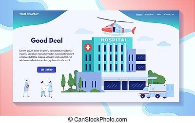 illustration, ambulance, bâtiment, hôpital, hélicoptère, vecteur