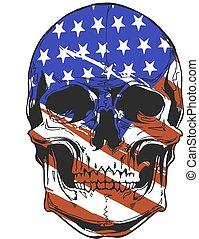 illustration America Flag painted on a skull