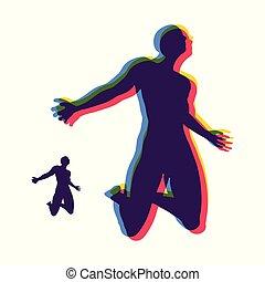 illustration., amor, vector, religión, adoración, prays., hombre, concepto, spirituality.