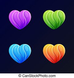 illustration, amour moderne, gabarit, fond, vecteur, logo, bleu