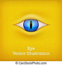 illustration., animal, jaune, vecteur, fond, eye.
