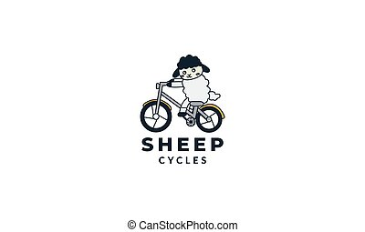 illustration animal sheep or goat with cycle design vector logo cute cartoon