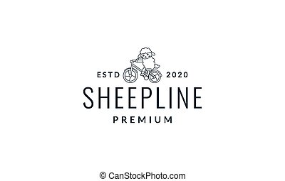 illustration animal sheep or goat with cycle design vector logo line cute cartoon