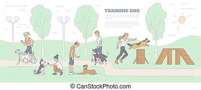 illustration., animali domestici, campo di gioco, cane, istruttori, schizzo, addestramento, vettore