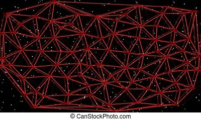 Illustration animated information network, red Voronoi diagram, moving red net with light dots, wireless transmission of information, sci-fi illustration