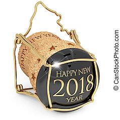 illustration, année, casquette, 2018, nouveau, champagne, 3d
