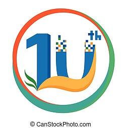 illustration., anniversario, anni, vettore, 10, template., icona