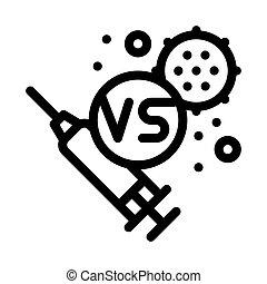 illustration, anti-virus, injection, vecteur, contour, icône