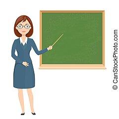 illustration., apontar, jovem, chalckboard., professor, tema, vetorial, femininas, educação, caricatura