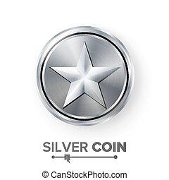 illustration., app, star., toile, argent, réaliste, jeu, vecteur, vidéo, interface., monnaie, ou, accomplissement, icône