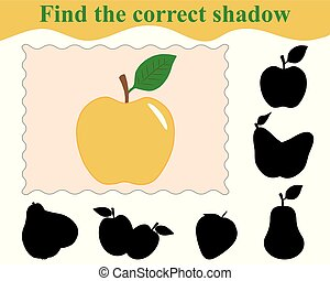 illustration., apple., jeu, correct, education., vecteur, children., ombre, trouver