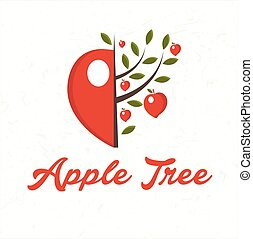 Illustration apple tree with apple fruit