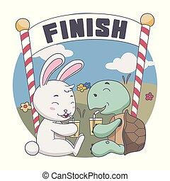 illustration, après, tortue, boisson, race., heureux, lapin, ensemble