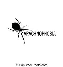 illustration., arachnophobia., halloween, pająk, odizolowany, owad, wektor, icon., logo.