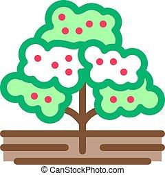 illustration, arbre, vecteur, icône, café, contour
