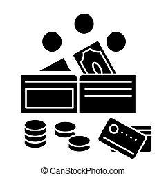 illustration, argent, isolé, signe, vecteur, fond, icône