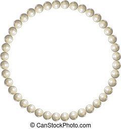 illustration., armband, voorwerp, parel, vector, witte , 3d, juwelen