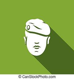 illustration., armia, beret, kasztanowaty, wektor, wojska, ...