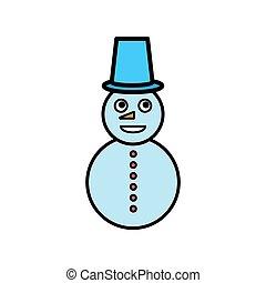 illustration, arrière-plan., bonhomme de neige, vecteur, blanc, isolé