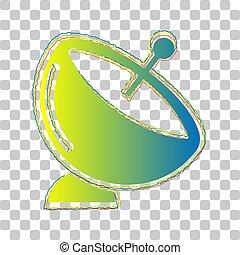 illustration., arrière-plan., contours, quatre, signe., plat satellite, vert, gradient, icône, transparent, élégant, roughen, bleu