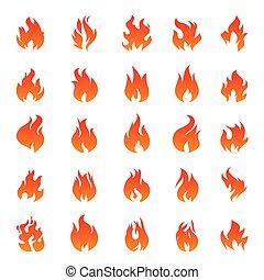 illustration, arrière-plan., graphique, elements., flamme, vecteur, brûler, icônes, ensemble, blanc, contour