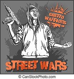 illustration., arrière-plan., guerriers, gangster, vecteur, graffiti, sale, ghetto