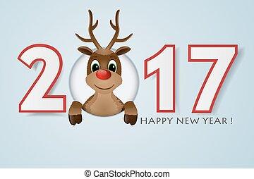 illustration., arrière-plan., renne, vecteur, année, nose., nouveau, rouges, heureux