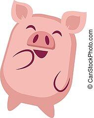 illustration, arrière-plan., rire, vecteur, porcin, blanc