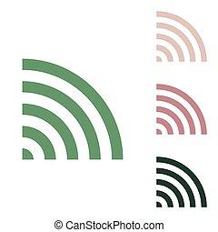 illustration., arrière-plan., signe., jungle, désert, russe, petit, sable, icône, wifi, blanc, vert, puce, vert, ceux